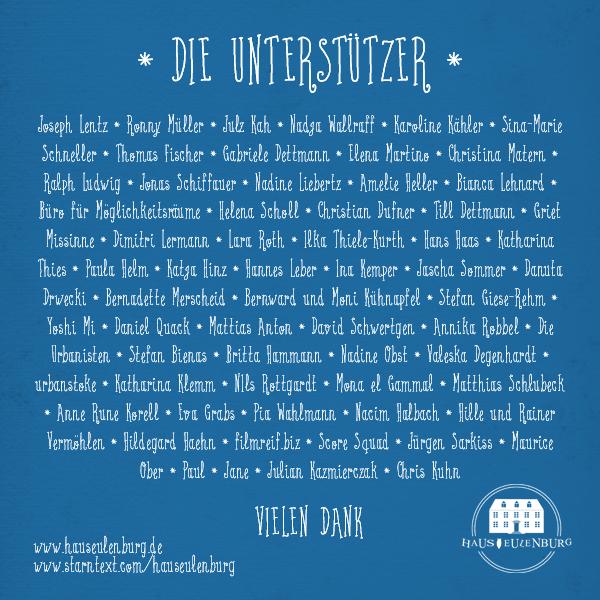Haus Eulenburg Crowdfunding Unterstützer